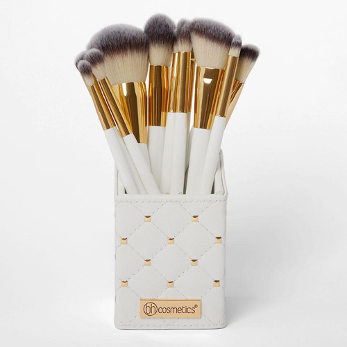 White Studded Elegance 12 Piece Brush Set with Holder