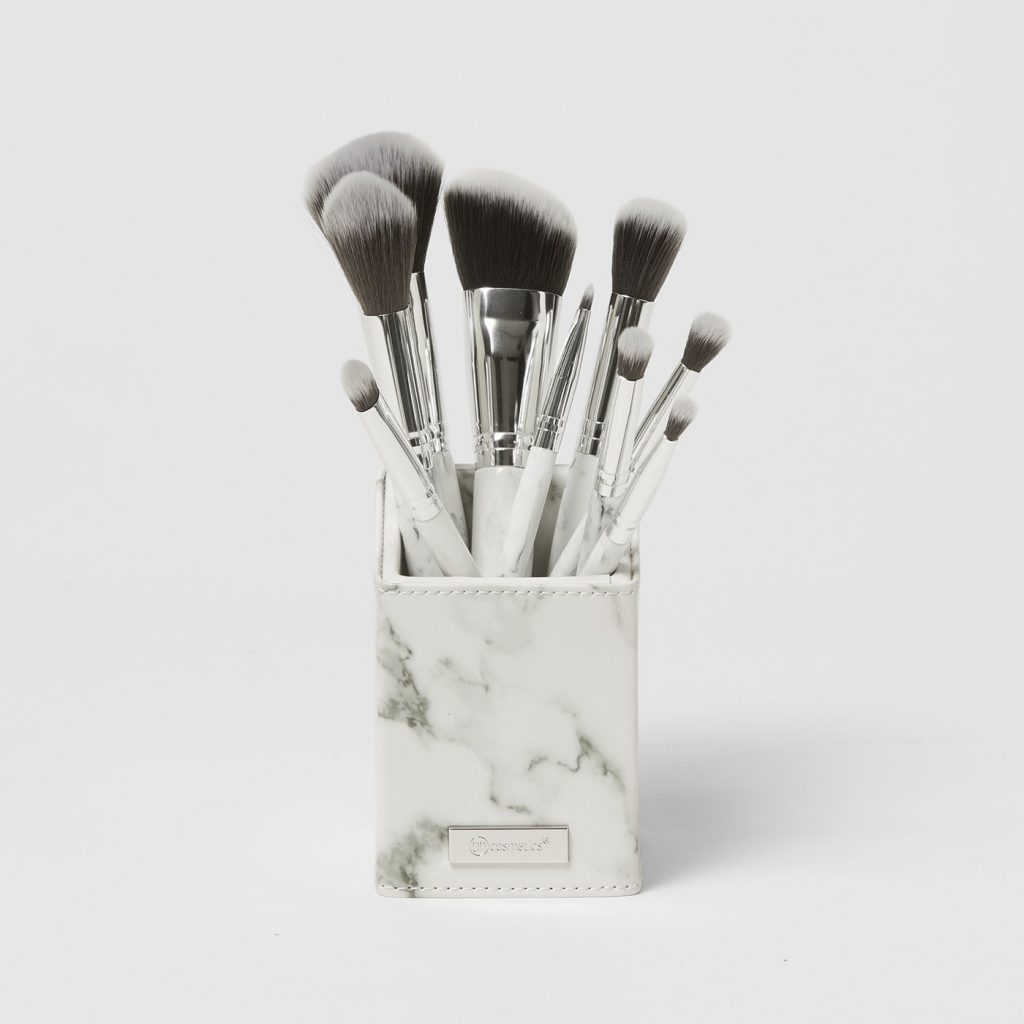 BH Cosmetics White Marble 9 Piece Brush Set With Angeled Brush Holder
