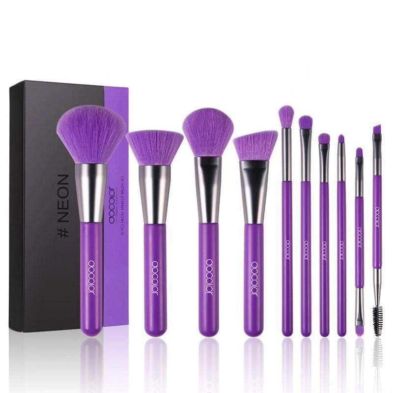 Set 10 Cọ Trang Điểm docolor 10 Pieces Neon Purple Brush Set