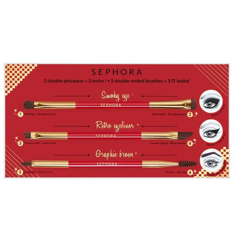 Bộ cọ trang điểm cho vùng mắt SEPHORA 3 DOUBLE PINCEAUX SET